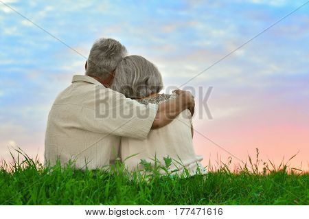 Senior couple resting at summer field during vacation