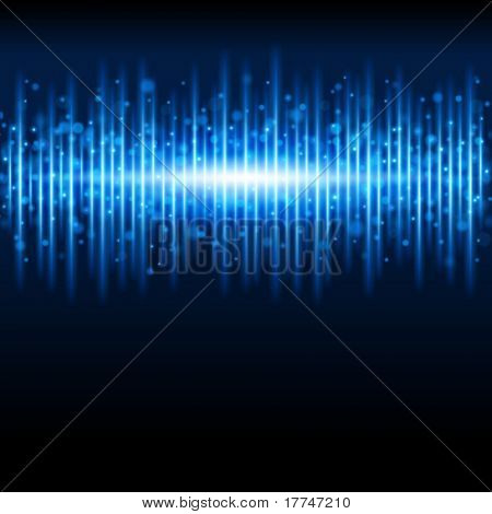Abstract blue waveform vector background. Eps 10.