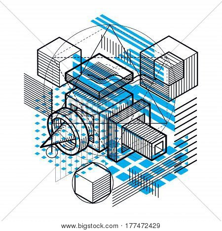 Abstract Vector Background With Isometric Lines And Shapes. Cubes, Hexagons, Squares, Rectangles And