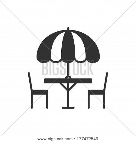 Thin line icons set. Table and chair outside. Outdoors. Silhouette street cafe, restaurant sign. Food service. Patio furniture symbol. Vector style linear icons. Isolated illustration. Object