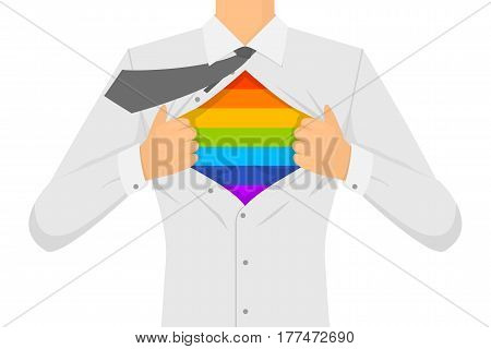 Man Ripping The Shirt LGBT Sign. Style Tolerance Concept Copy Space. Flat Design Style Vector illustration