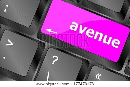 Avenue Word On Keyboard Key, Notebook Computer
