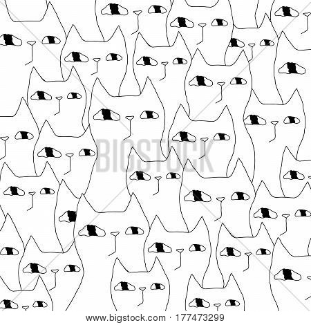 Cartoon cat illustration with crowd of cats. Cute funny black and white cat illustration. Monochrome doodle cat illustration for prints, posters, t-shirts, covers, flyers and cards.