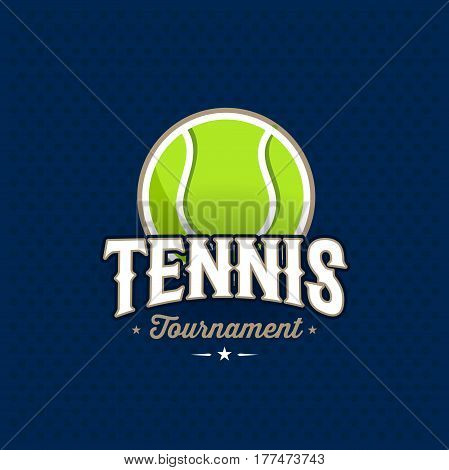 Modern professional tennis tournament logo with ball. Sport badge for team, championship or league. Vector illustration.