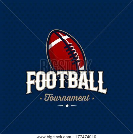 Modern professional football tournament logo with ball. Sport badge for team, championship or league. Vector illustration.