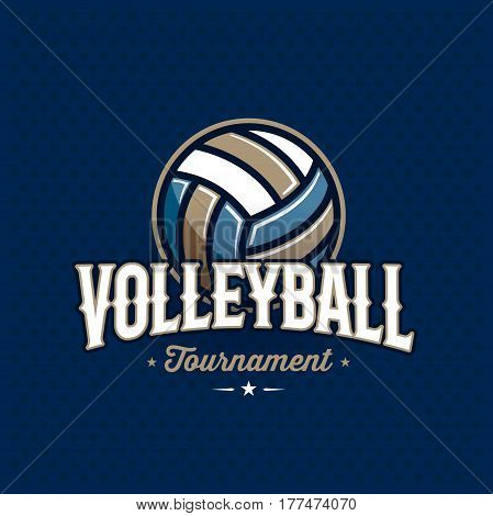 Modern professional volleyball tournament logo with ball. Sport badge for team, championship or league. Vector illustration.