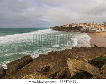 Praia das Macas (Apple Beach) in Colares Portugal on a stormy day.
