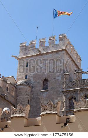 detail of the exterior facade of the Old Silk Exchange(Lonja de la Seda) Valencia Spain UNESCO World Heritage Site