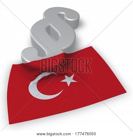 paragraph symbol and turkey flag - 3d rendering