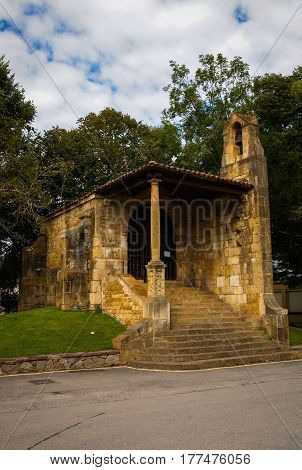 Chapel Of The Holy Cross In Cangas De Onis Asturias. Spain