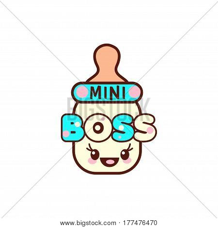illustration of isolated baby bottle with phrase mini boss on white. Vector style pacifier Kawaii emoticons for print on t-shirt, one piece body gift for kids.
