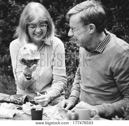 Senior Couple Having a Dinner Concept