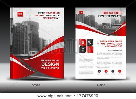 Red Color Scheme with City Background Business Book Cover Design Template in A4 Business Brochure flyer Annual Report Magazine company profile