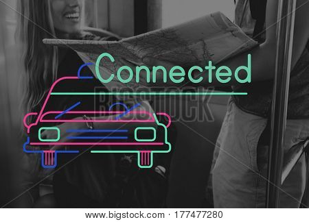 People Travel Journey and Car Graphic Icon