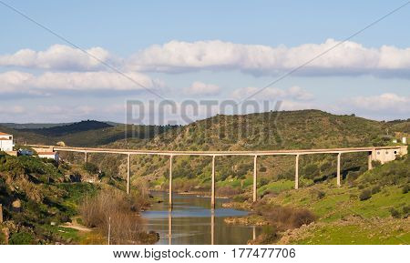 Bridge in Mertola Portugal, on a sunny day.