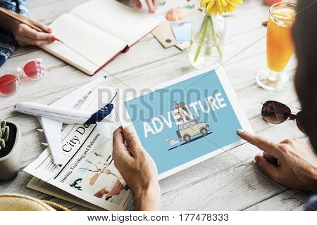 Illustration of discovery journey road trip traveling on digital tablet