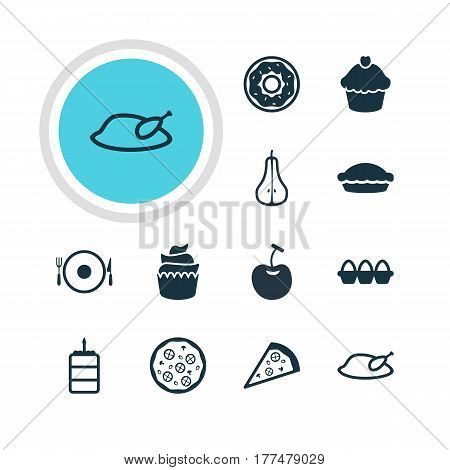 Vector Illustration Of 12 Cuisine Icons. Editable Pack Of Pizzeria, Pizzeria, Grill And Other Elements.