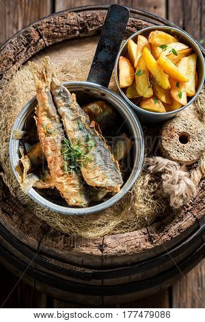 Fresh Roasted Herring Fish With Herbs And Salt