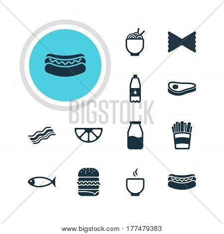 Vector Illustration Of 12 Eating Icons. Editable Pack Of Bowl, Drink Bottle, Beef steak And Other Elements.