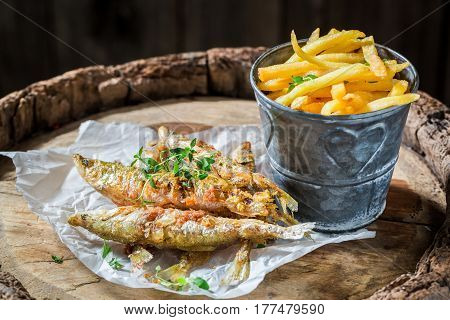 Tasty Roasted Smelt Fish With Herbs And Salt