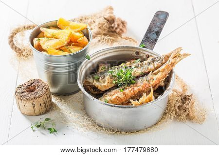 Homemade Roasted Herring Fish With Salt And Herbs