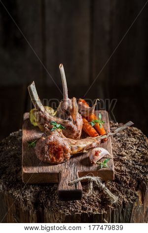 Delicious Grilled Ribs Of Lamb With Thyme And Spices
