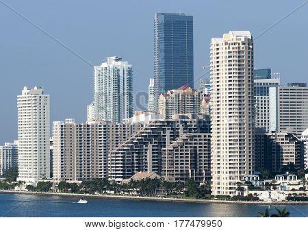 The skyline of Brickell the urban neighborhood of Greater Downtown Miami (Florida).