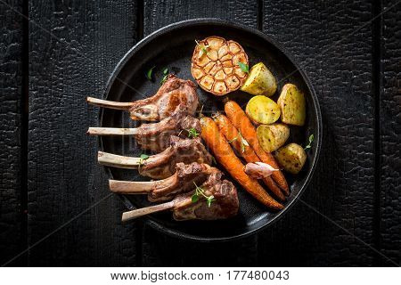 Tasty Roasted Lamb Ribs With Garlic And Vegetables