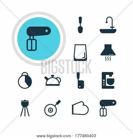 Vector Illustration Of 12 Restaurant Icons. Editable Pack Of Washstand, Butcher Knife, Oven Mitts Elements.