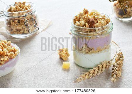 greek yogurt with fruit crunchy breakfast healthy food concept