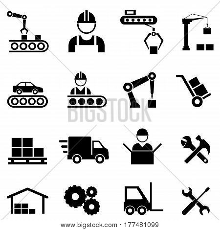 Factory manufacturing assembly line and automation related industrial icon set