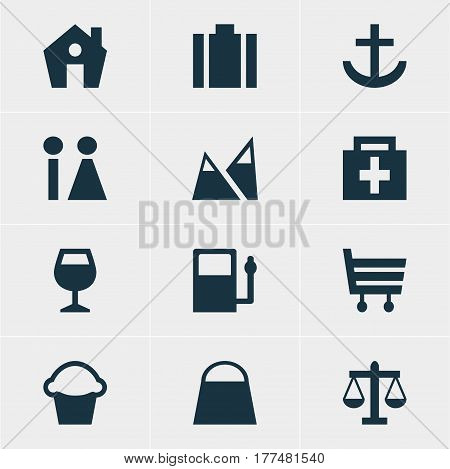 Vector Illustration Of 12 Map Icons. Editable Pack Of Handbag, Drugstore, Scales Elements.