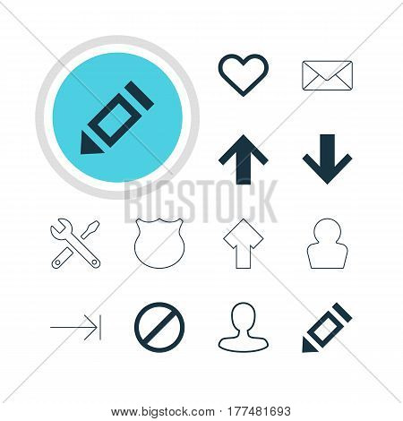 Vector Illustration Of 12 Member Icons. Editable Pack Of Pen, Envelope, Man Member And Other Elements.