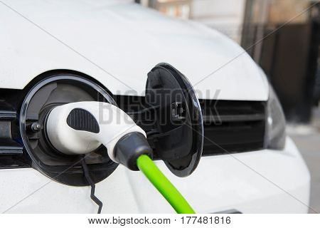 Close Up Of Electric Car Being Charged