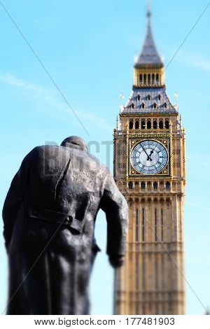 Miniaturised Shot Of Big Ben And Palace Of Westminster With Statue Of Winston Churchill
