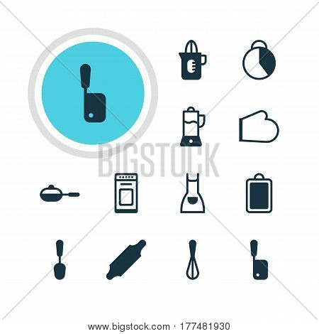 Vector Illustration Of 12 Cooking Icons. Editable Pack Of Chopping Desk, Tablespoon, Fruit Squeezer And Other Elements.