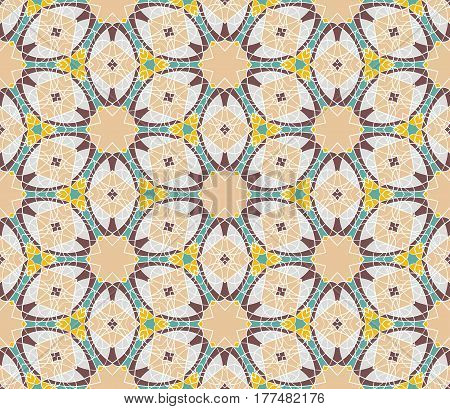 Vintage geometric seamless pattern. Vector background retro texture. Beige brown green and yellow colors.