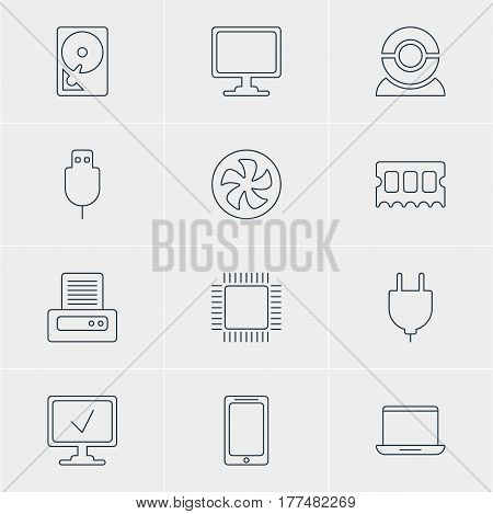 Vector Illustration Of 12 Notebook Icons. Editable Pack Of Memory Chip, Socket, Cooler And Other Elements.