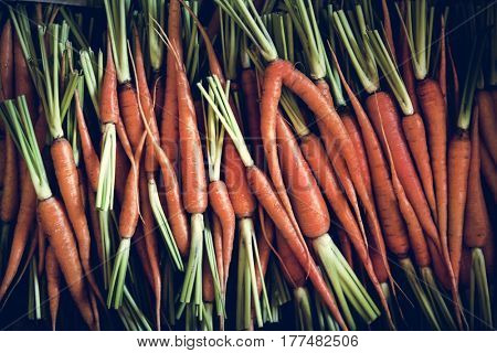 Agricaltural pile of carrot at farmer's market