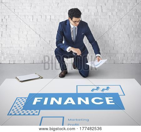 Man working network graphic overlay on floor
