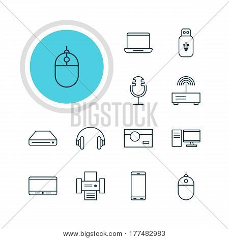 Vector Illustration Of 12 Device Icons. Editable Pack Of PC, Headset, Modem And Other Elements.