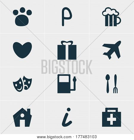 Vector Illustration Of 12 Check-In Icons. Editable Pack Of Cafe, Map Information, Aircraft And Other Elements.