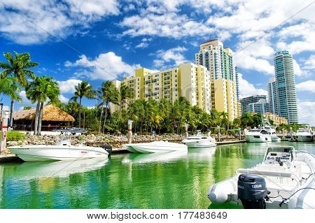 Miami USA-February 19 2017 :View of luxurious boats and yacht docked in a Miami South Beach Marina