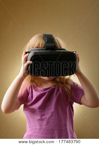 Little Girl In Virtual Goggles