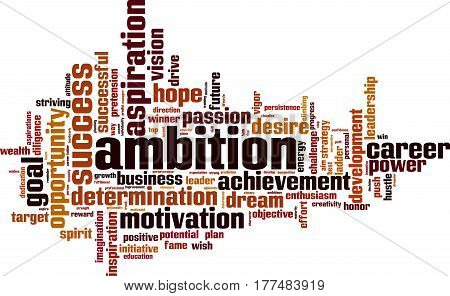 Ambition word cloud concept. Vector illustration on white