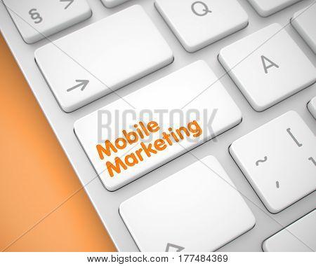 Online Service Concept: Mobile Marketing on Modernized Keyboard Background. Inscription on Keyboard Enter Key, for Mobile Marketing Concept. 3D Render.