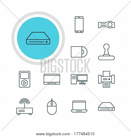 Vector Illustration Of 12 Gadget Icons. Editable Pack Of Cursor Controller, Dvd Drive, Game Controller And Other Elements.
