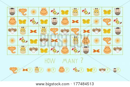 Mathematical game calculate animals vector illustration task, lesson