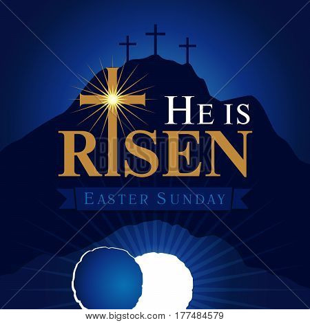 He is risen navy blue card. Easter christian motive,with text He is risen on on a background of rolled away from the tomb stone of Calvary
