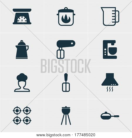 Vector Illustration Of 12 Kitchenware Icons. Editable Pack Of Carafe, Tea, Whisk And Other Elements.